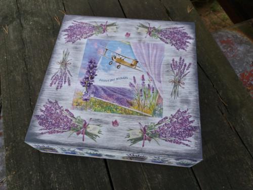 Čajová krabice  - levandulová 16 př.- patina