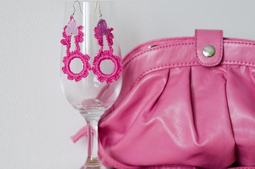 Růžové náušničky - SLEVA ze 64 !