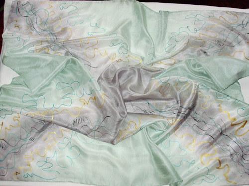 Hedvábný šátek zelenočerný 74x74