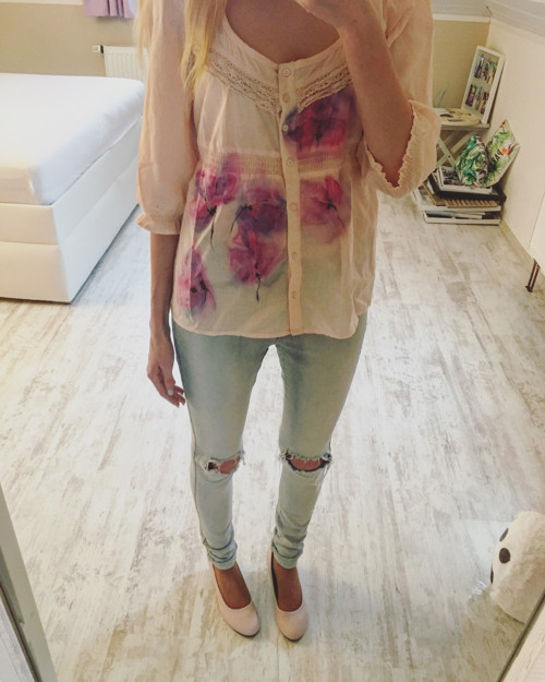 Ručně malovaná košile Ve stínu orchidejí