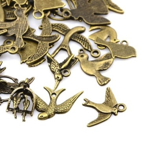 Ptáci antický bronz mix