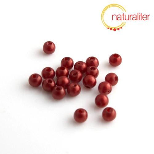 Voskované perly, tmavě červené, 4mm, 100ks