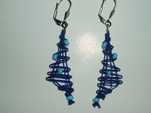 Modráskové naušnice, paličkované