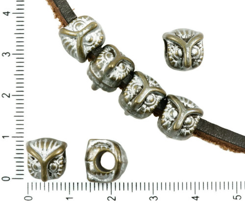 6ks Starožitné Bronzové Tón Matný Stříbrná Patina