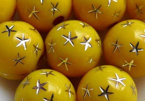 Plastové kuličky s hvězdami 8 mm - žlutá / 10 ks