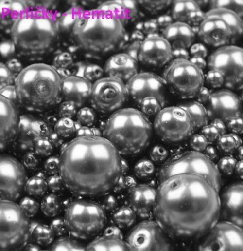 Mix perliček, 4-12mm, Hematit, 80 ks