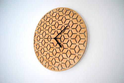 Nástěnné hodiny S (33 cm) - krychle olej