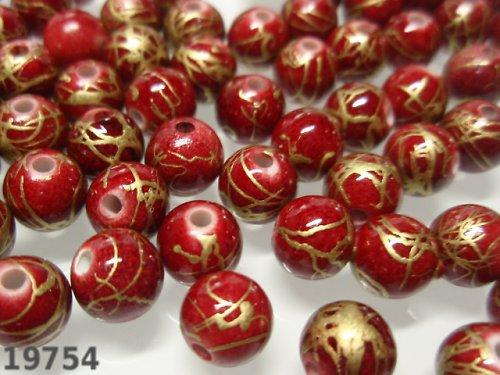 20447-B10 Korálky akrylové červenozlaté bal.20 ks