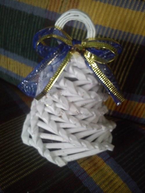 Zvonek bílý s modrou mašlí