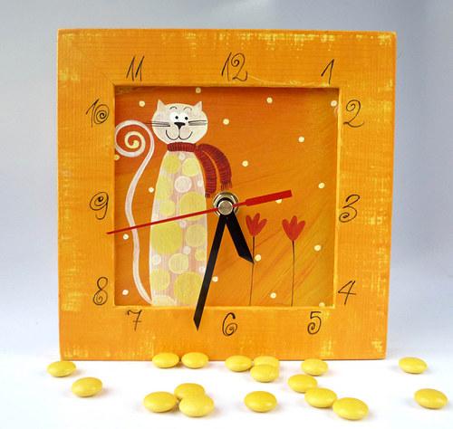 hodiny s kukačkou - oranžové s kočkou