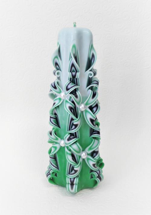 Řezaná svíčka zelená 20 cm (střední) + Dekor