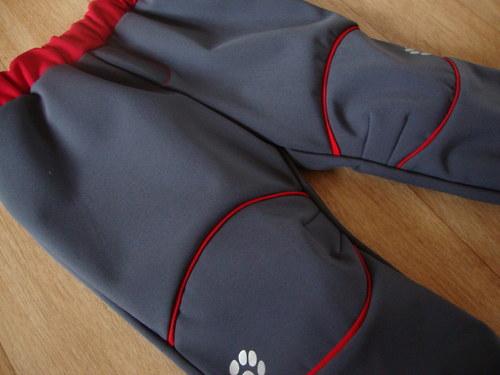 Rostoucí softshellové kalhoty šedo - červené