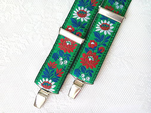 Folklore suspenders for kids (green)