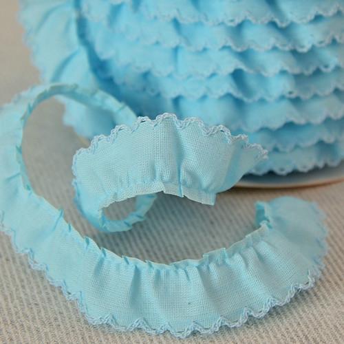 Řasený dekorovací proužek modrý 20 mm