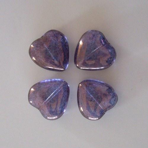 Skleněné srdíčko  - fialové