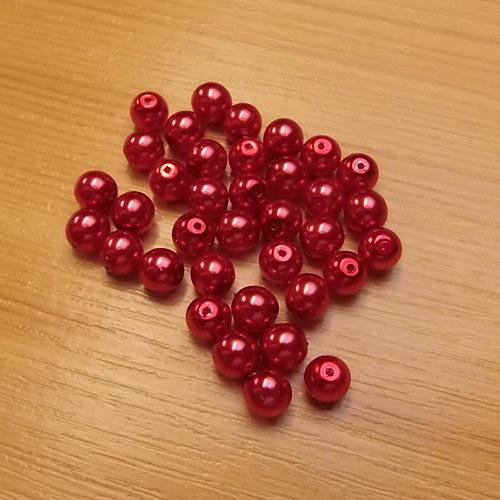 Voskované perly 8 mm -  červené