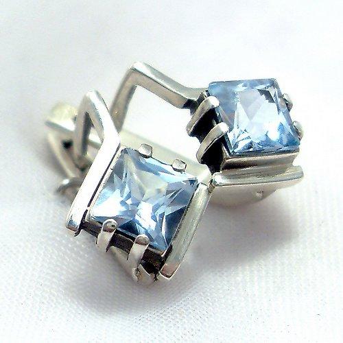 Náušnice «Mini» - stříbro 925/1000, modrý topaz