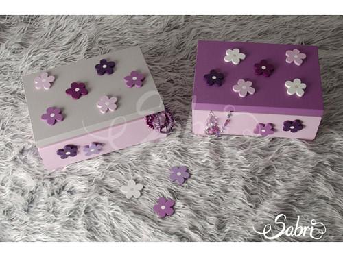 Šperkovnice s kytičkami, růžová