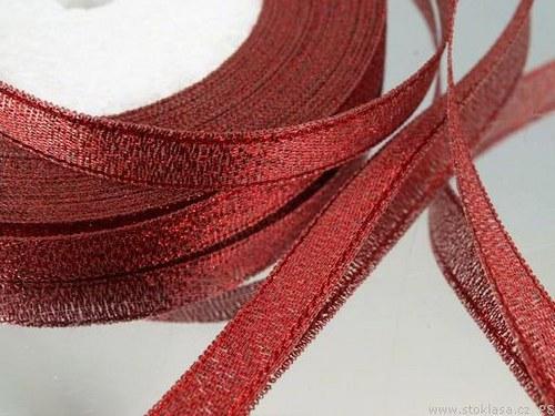 Stuha s lurexem š.10mm červená