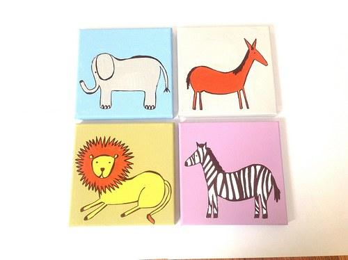 Koník,sloník, zebra, lev