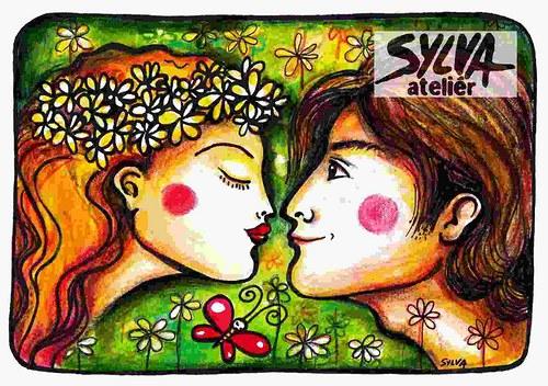 Milenci- pohlednice