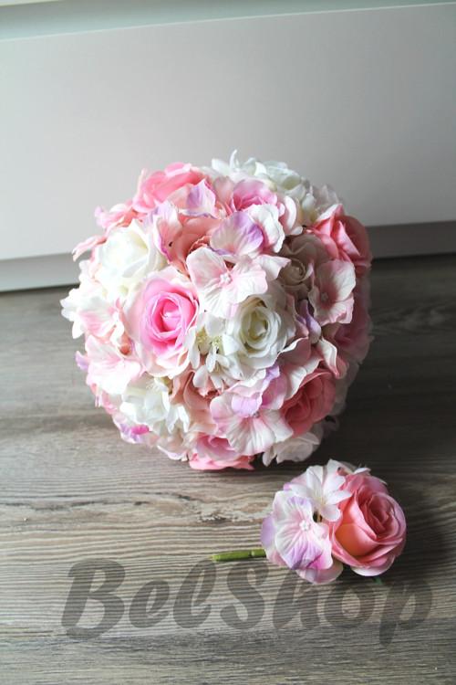 Svatební kytice v růžovém mixu