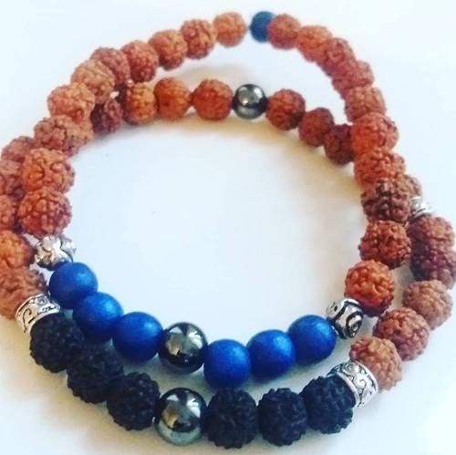 Pánský Rudraksha náramek s hematitem = modrý