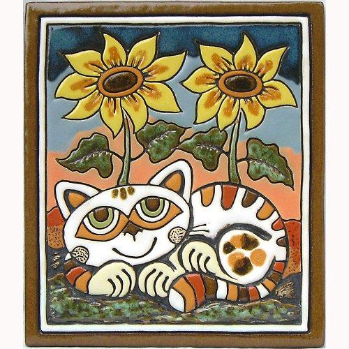Keramický obrázek - Kočka a slunečnice K-113-N