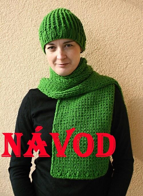 Návod č.2 na 2 ks- pletenou čepici a šálu **