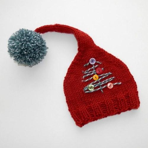 Pletená čepička na vánoční focení miminek