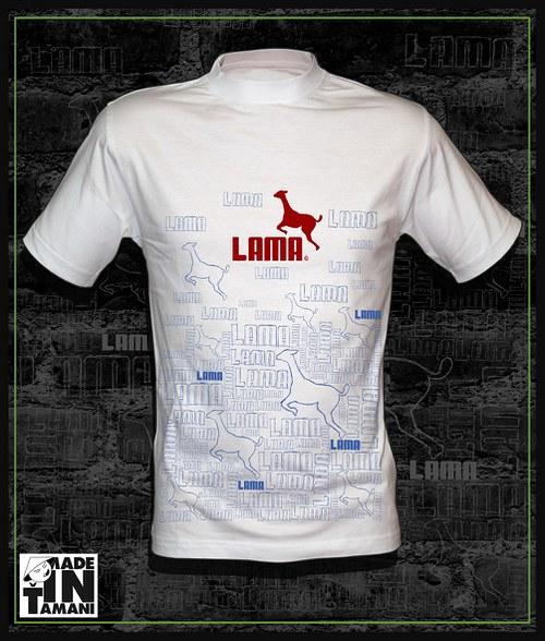 Pánské bílé tričko Lama design 11