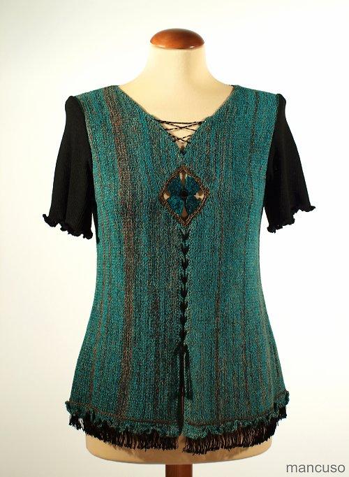 tričko zelená hedvábná kytka