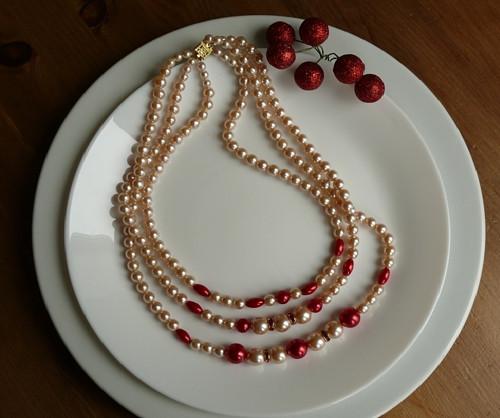 náhrdelník - třířadý s rondelkama - červený