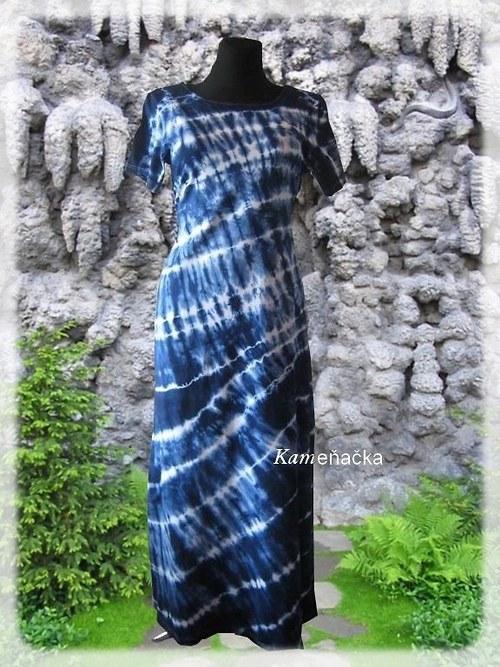 Batikované dlouhé šaty modré