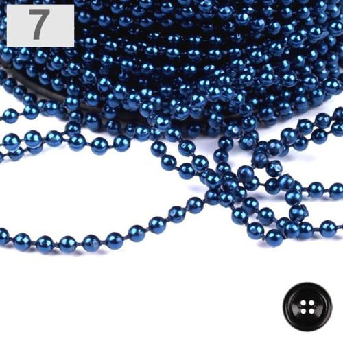 Plastové korálky na šňůře pr.4mm (5m) -modrá paříž