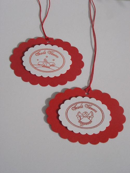 Vánoční visačky na dárky - bíločervené- 5 ks