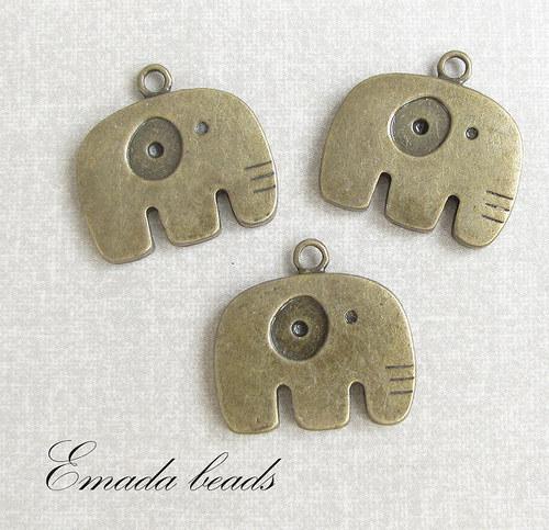Přívěšek, slon, 2,5 x 2,5 cm
