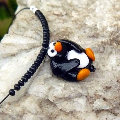 Tučňák - placka - vinutá perle