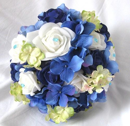 Svatební kytice královská modrá