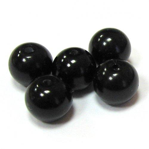 Perly voskové - 8 mm - černá - 10 ks