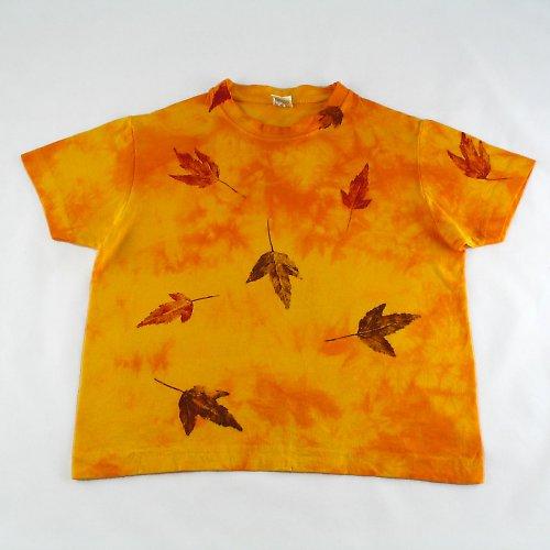 Žluto-oranžové dětské tričko s listy (6 let)