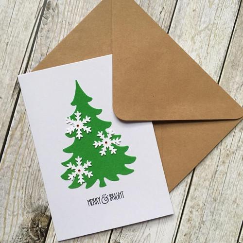 Vánoční přání se sametovým stromečkem a vločkami