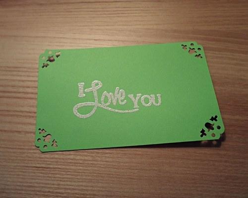 Cedulky na dárky zelené I LOVE YOU - 5ks