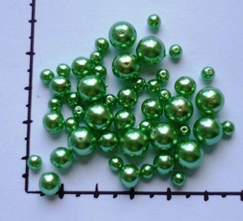 Mix zelených perel, 48ks