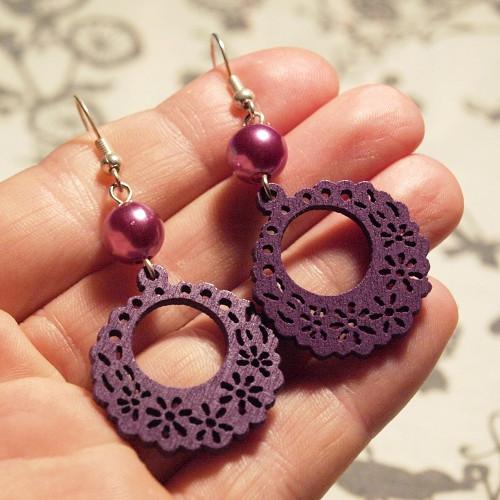 Náušnice - Dřevěné fialové