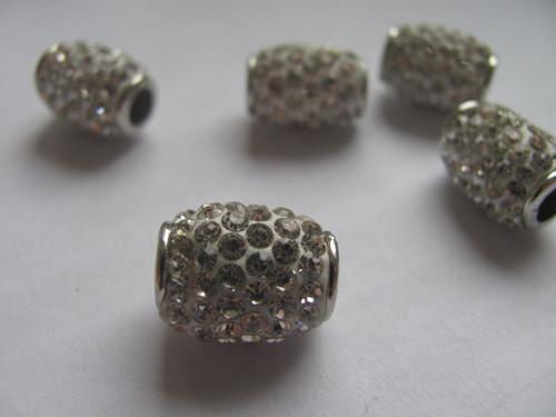 Shamballa korálek 13x16 mm - stříbrnobílá barva