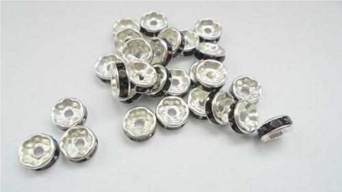 Rondelky stříbrné-černé 15 ks