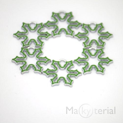 Vánoční vločka kovová - zelená- 2ks