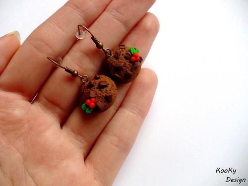Visací náušnice - vánoční cookies
