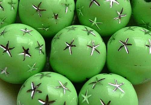 Plastové kuličky s hvězdami 8 mm - zelená / 10 ks